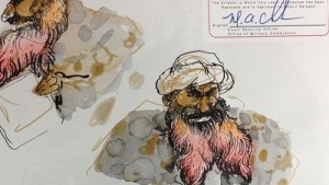 Khalid Mohammed in G Bay, drawn by Molly Crabapple